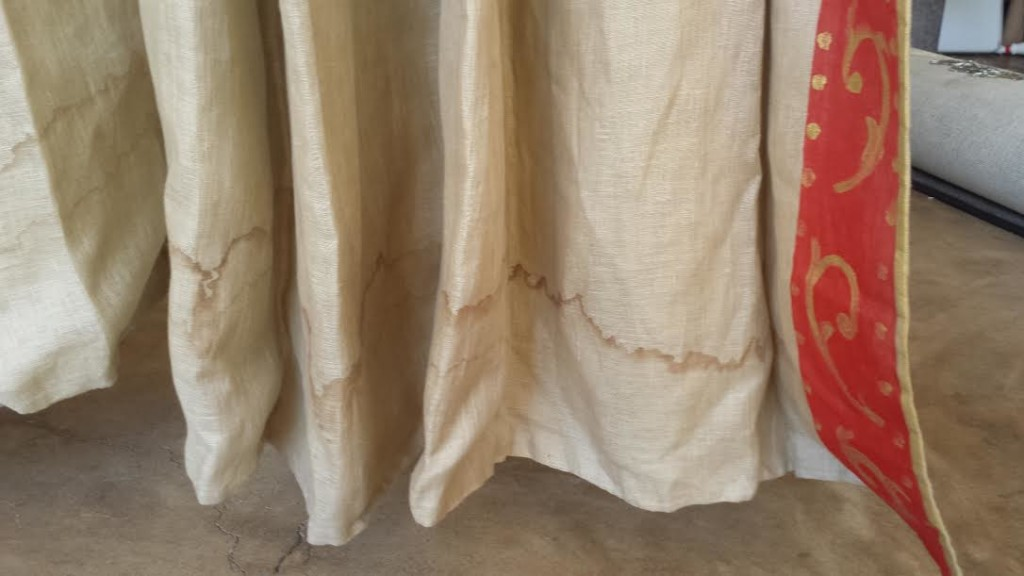 Linen Draperies Water Stain