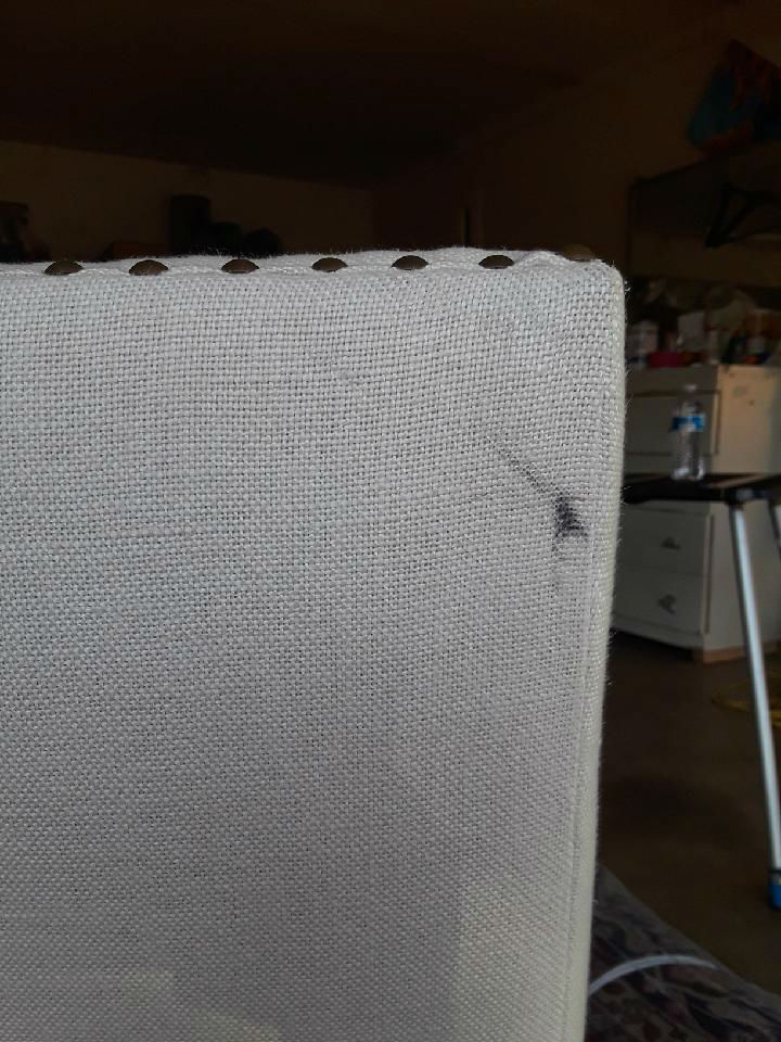 Cleaning Black Grease on White Linen Chair - FiberCare Dallas